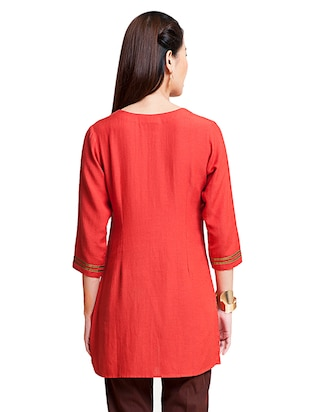 Embroidered a-line kurti - 15494738 - Standard Image - 3