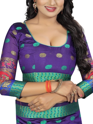 conversational zari motif banarasi saree with blouse - 15496869 - Standard Image - 3