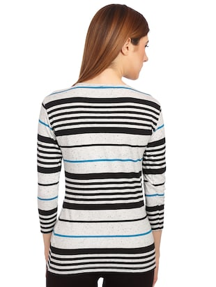 round neck button detail striped tee - 15497107 - Standard Image - 3