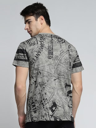 grey cotton all over print tshirt - 15497623 - Standard Image - 3