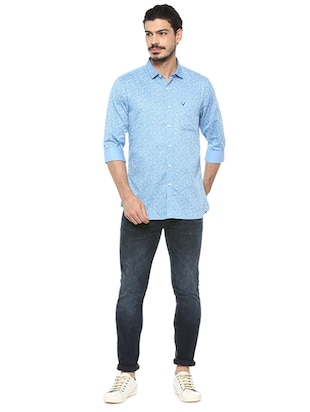 blue cotton casual shirt - 15497738 - Standard Image - 3