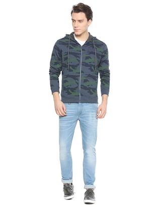 blue cotton all over print sweatshirt - 15497759 - Standard Image - 3