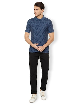 navy blue cotton polo t-shirt - 15497779 - Standard Image - 3