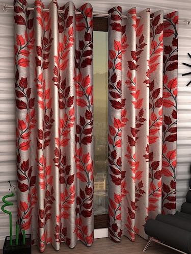 Set of 8 Polyester Long Door Curtains - 15498467 - Standard Image - 1