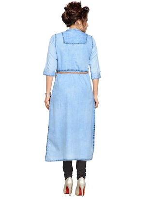 Denim straight kurta with belt - 15500072 - Standard Image - 3