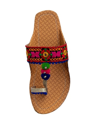 multi colored one toe kolhapuris - 15502349 - Standard Image - 3