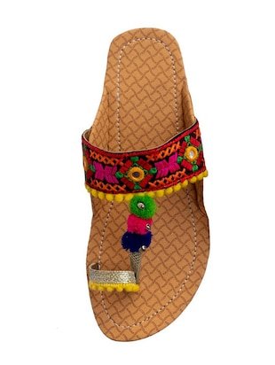 multi colored one toe kolhapuris - 15502351 - Standard Image - 3