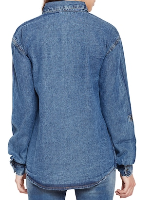 pocket patch denim shirt - 15502697 - Standard Image - 3