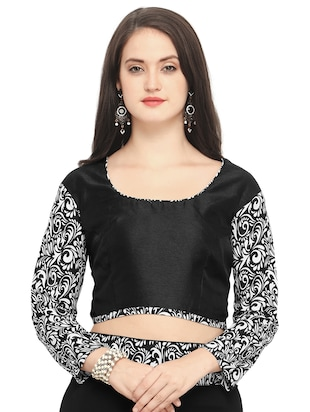 printed lace border black saree with blouse - 15503722 - Standard Image - 3