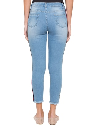 side taped ankle length jeans - 15504893 - Standard Image - 3