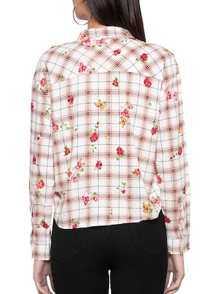 pocket patch printed checkered shirt - 15504951 - Standard Image - 3