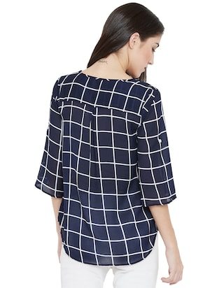 tie-up neck checkered high low top - 15505851 - Standard Image - 3