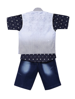 blue cotton shorts set with waistcoat - 15512055 - Standard Image - 3