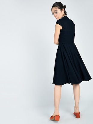 Contrast piping tie bow neck dress - 15512101 - Standard Image - 3