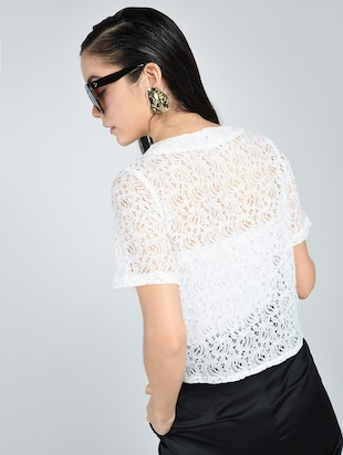 Contrast eyelet lace-up top - 15512110 - Standard Image - 3