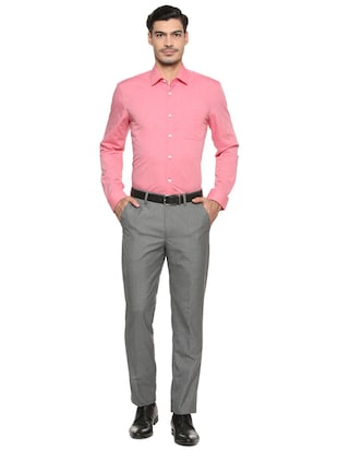 pink cotton formal shirt - 15512474 - Standard Image - 3