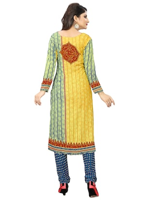 yellow crepe churidaar suits unstitched suit - 15515921 - Standard Image - 3