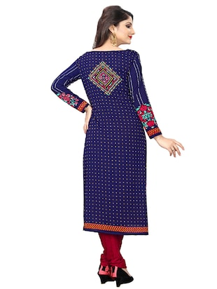 blue crepe churidaar suits unstitched suit - 15515933 - Standard Image - 3