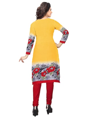 yellow crepe churidaar suits unstitched suit - 15515940 - Standard Image - 3