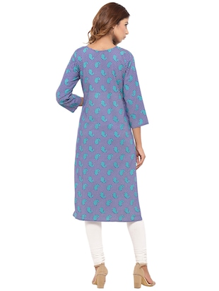 Placket patch printed straight kurta - 15517426 - Standard Image - 3