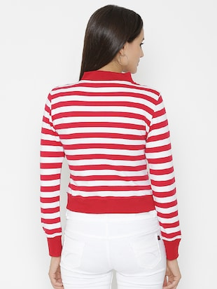 zip-up front striped sweatshirt - 15518027 - Standard Image - 3