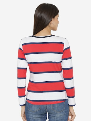 piping neck detail striped top - 15518040 - Standard Image - 3