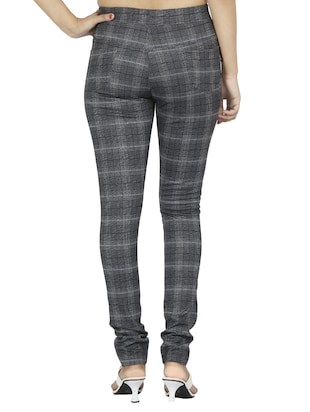 mid waist checkered jegging - 15518263 - Standard Image - 3