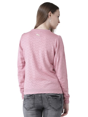 pointelle knit scallop edge pullover - 15519459 - Standard Image - 3