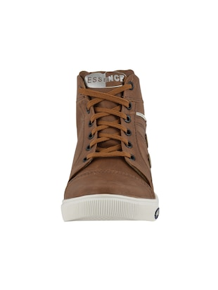 tan leatherette lace up sneakers - 15519550 - Standard Image - 3