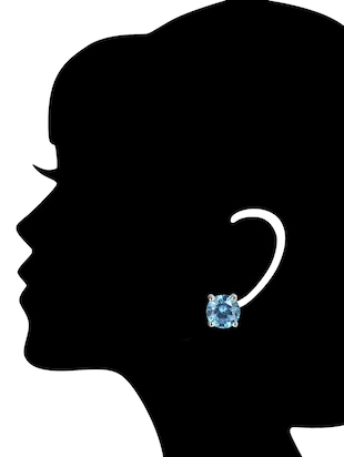 Blue Silver Tone Stone Earrings - 15519610 - Standard Image - 3