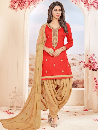 Embroidered unstitched patiyala suit - 15523592 - Standard Image - 1