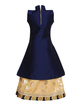 blue cotton lehnga choli - 15528960 - Standard Image - 3