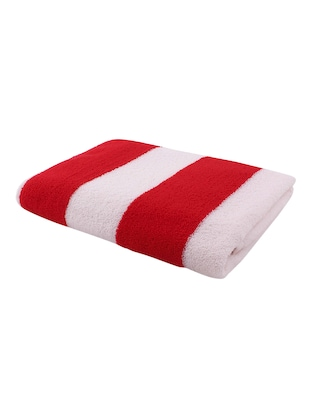 Pack of 2 Microfiber Bath Towel Cabana, 70x140 cms, Large, 250 GSM (White & Red) - 15531226 - Standard Image - 3