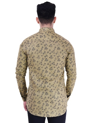 brown cotton casual shirt - 15563612 - Standard Image - 3