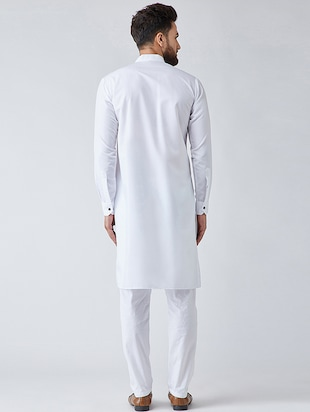 white cotton kurta pyjama set - 15566051 - Standard Image - 3