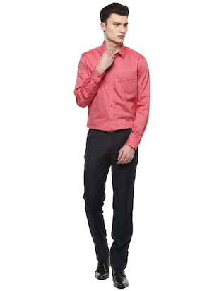 red cotton formal shirt - 15566947 - Standard Image - 3