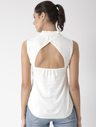 cutout back frill detail neck top - 15574051 - Standard Image - 3