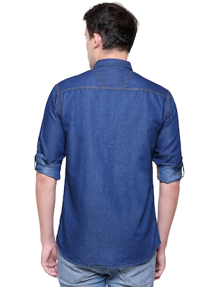 blue denim casual shirt - 15578270 - Standard Image - 3