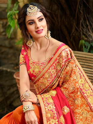 Zari embroidered saree with blouse - 15580703 - Standard Image - 3