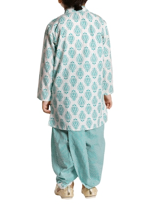 green cotton kurta set - 15581848 - Standard Image - 3