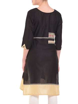 Straight patch work kurta - 15586314 - Standard Image - 3
