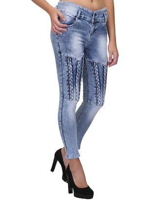 braid weave stone washed jeans - 15604541 - Standard Image - 3