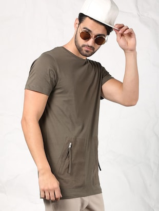 olive green cotton t-shirt - 15604856 - Standard Image - 3