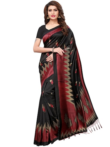 geometrical printed mysore silk saree with blouse - 15606406 - Standard Image - 1