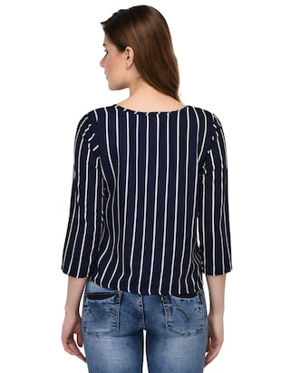 round neck striped top - 15607675 - Standard Image - 3