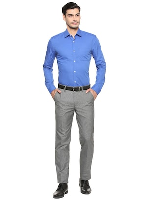 blue cotton formal shirt - 15608516 - Standard Image - 3