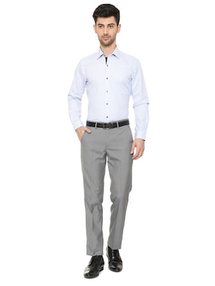 blue cotton formal shirt - 15608611 - Standard Image - 3