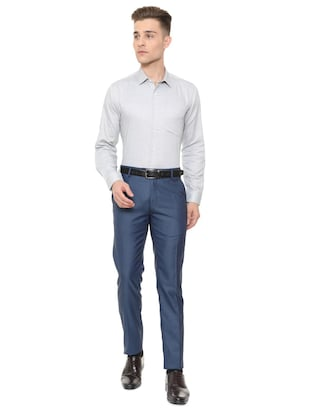 grey cotton blend formal shirt - 15608619 - Standard Image - 3