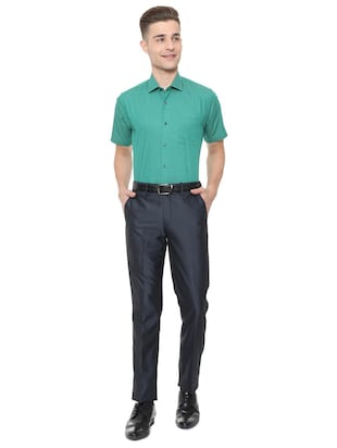 green cotton blend formal shirt - 15608627 - Standard Image - 3