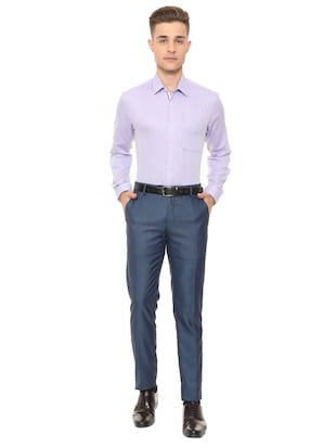 purple cotton blend formal shirt - 15608633 - Standard Image - 3